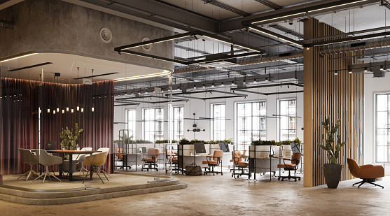 New Business「3D Rendering of modern and open plan office space」:スマホ壁紙(10)