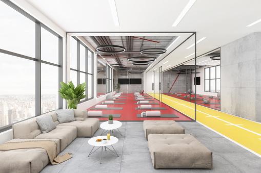 Pilates「Modern yoga studio lobby interior」:スマホ壁紙(12)
