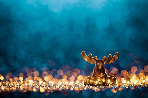 reindeer「Christmas Reindeer - Defocused Decoration Gold Blue Bokeh」:スマホ壁紙(2)