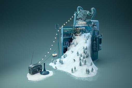 Digital Composite「Wintermaschine - quer」:スマホ壁紙(11)