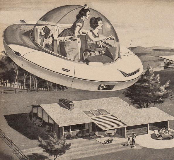 Futuristic「Woman Driving Flying Saucer」:写真・画像(1)[壁紙.com]