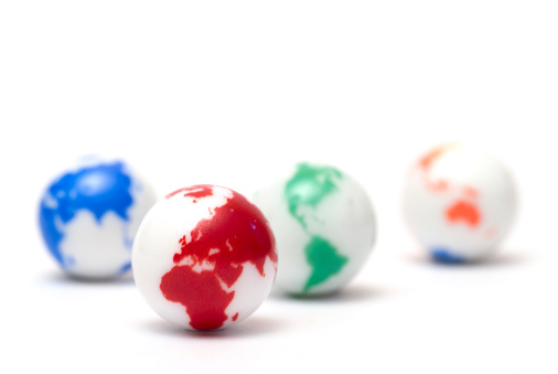 Rock Music「Small glass marbles with colorful globe artwork on white」:スマホ壁紙(1)