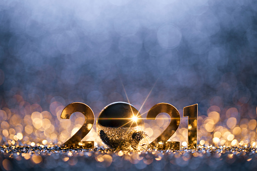 お正月「新年クリスマスデコレーション2021 - ゴールドブルーパーティーのお祝い」:スマホ壁紙(5)