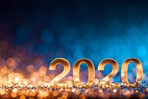 お正月「新年クリスマスデコレーション2020 - ゴールドブルーパーティーのお祝い」:スマホ壁紙(8)