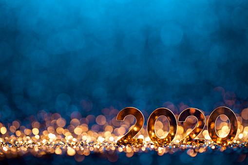 お正月「新年クリスマスデコレーション2020 - ゴールドブルーパーティーのお祝い」:スマホ壁紙(7)