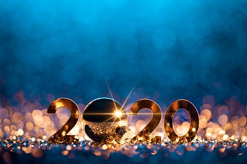 大晦日「新年クリスマスデコレーション2020 - ゴールドブルーパーティーのお祝い」:スマホ壁紙(18)