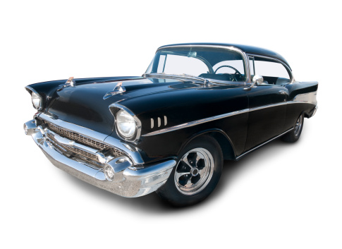 Hot Rod Car「Chevrolet Belair from 1957 in black and chrome color」:スマホ壁紙(4)