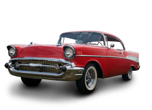 Hot Rod Car「A Chevrolet Bel Air 1957 against a white background」:スマホ壁紙(2)