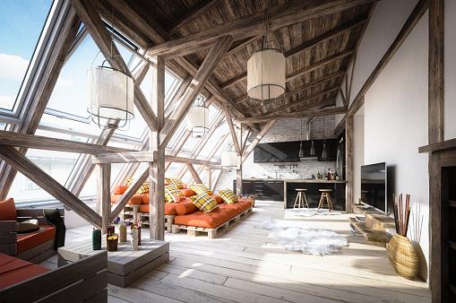 Attic「Cozy Scandinavian Attic Loft Interior Scene」:スマホ壁紙(10)