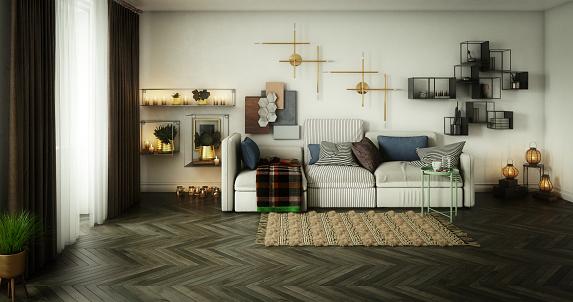 Inexpensive「Cozy Scandinavian Living Room」:スマホ壁紙(8)