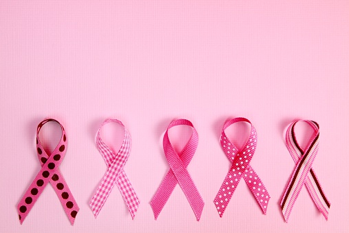 Costume Jewelry「Pink Breast Cancer Awareness Ribbons with copy space」:スマホ壁紙(8)