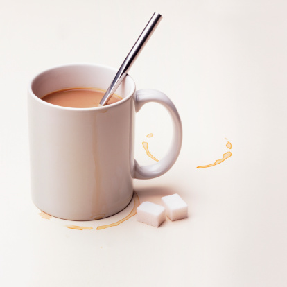 Satisfaction「Cup of tea with sugar lumps on white background」:スマホ壁紙(6)