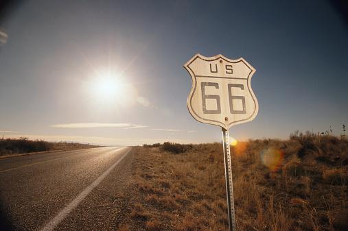 Bush Land「'Route 66' sign, sunset」:スマホ壁紙(7)