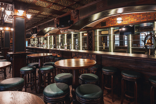 Wide Shot「Empty Beer Restaurant Interior」:スマホ壁紙(15)