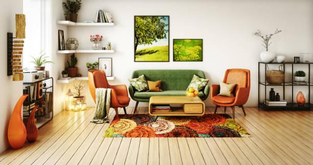 70s Style Living Room:スマホ壁紙(壁紙.com)