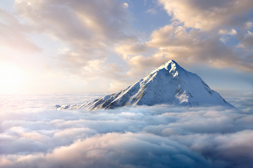 Digital Composite「Snow-covered mountaintop above clouds」:スマホ壁紙(1)