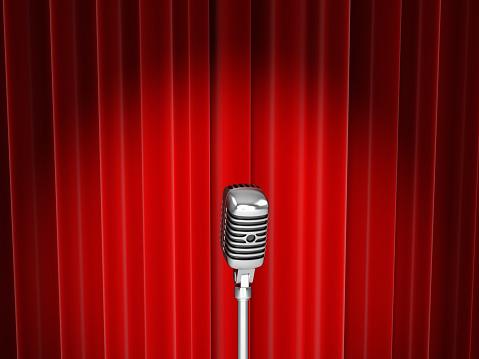 Velvet「Vector of microphone with spotlight against red curtain」:スマホ壁紙(6)