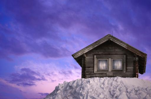 Chalet「Wooden Hut On Winter Sunset」:スマホ壁紙(4)