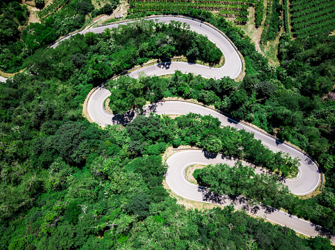 Hairpin Curve「Italy, Veneto, Verona, Aerial view of road winding along forested hill in spring」:スマホ壁紙(2)