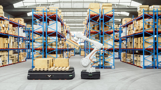 Robotics「Automated Robot Carriers And Robotic Arm In Modern Distribution Warehouse」:スマホ壁紙(12)