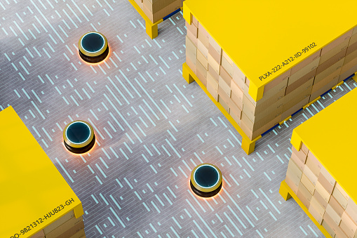 Driverless Transport「Automated robot carriers in modern distribution warehouse」:スマホ壁紙(13)