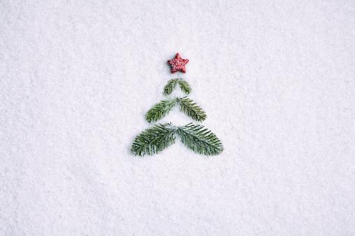 Christmas「Pine branche christmas tree - Background Nature Snow White」:スマホ壁紙(0)