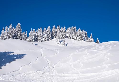 Ski Slope「Germany, Upper Bavaria, Lenggries, ski area at Brauneck with ski tracks on the slope」:スマホ壁紙(3)