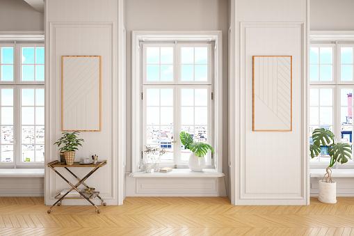 Moulding - Trim「Empty Modern Classic White interior Room with Windows」:スマホ壁紙(18)