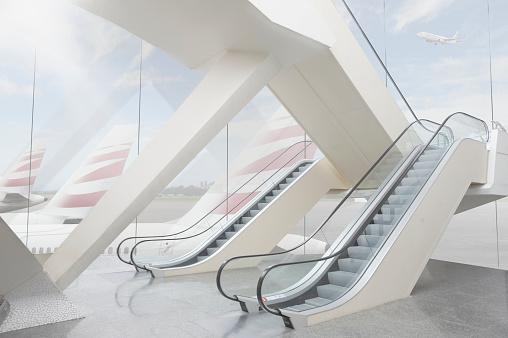 Arrival「Empty modern airport building」:スマホ壁紙(16)