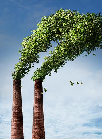 Waste Management「Smoke stacks producing green leaves instead of smoke」:スマホ壁紙(11)