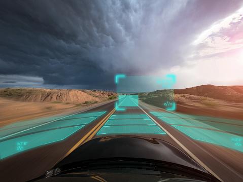 Driverless Car「Self driving autonomous car driving in bad weather, USA」:スマホ壁紙(7)