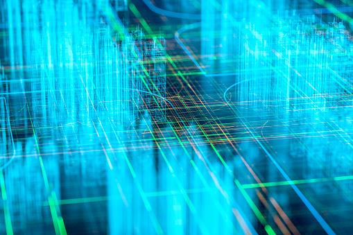 Big Data「Futuristic wire frame city」:スマホ壁紙(2)