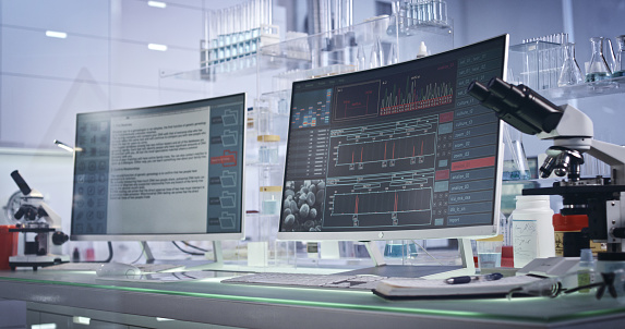 Graphical User Interface「Futuristic laboratory equipment. DNA research on computer screens」:スマホ壁紙(3)