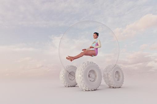 1人「Futuristic spherical four wheel car」:スマホ壁紙(7)