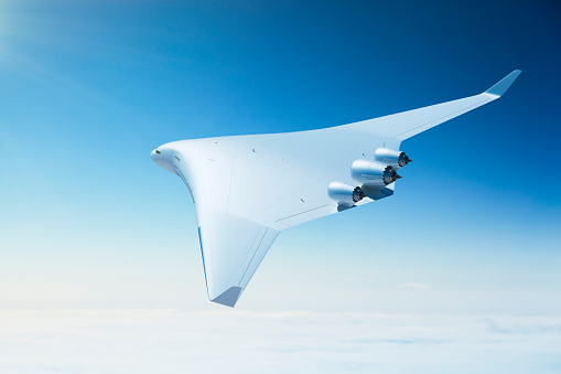 Commercial Airplane「Futuristic passenger airplane with blended wing body design」:スマホ壁紙(19)