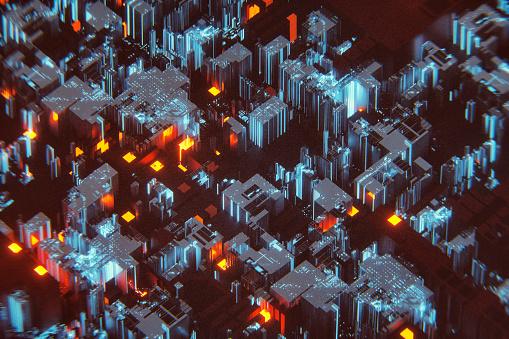Circuit Board「Futuristic cityscape detail」:スマホ壁紙(9)