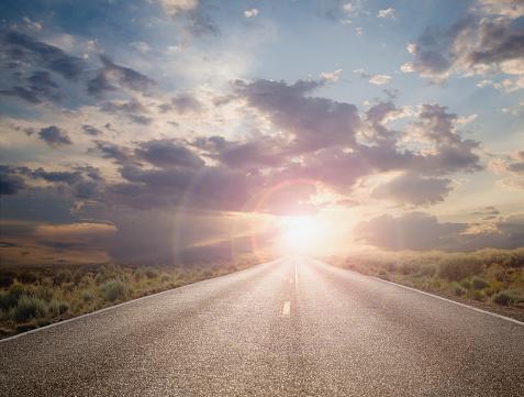 Hope - Concept「Sun setting on remote highway」:スマホ壁紙(17)