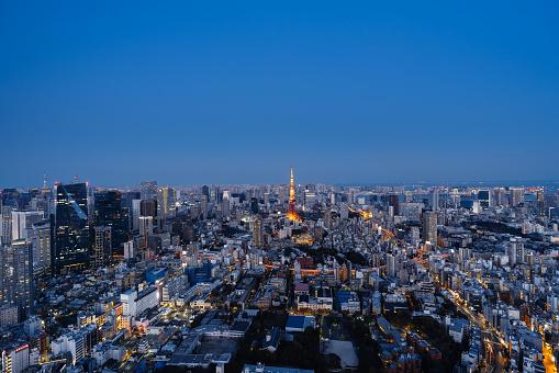 Tokyo Tower「Aerial view of Tokyo skyline at night」:スマホ壁紙(17)