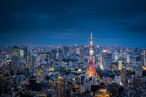 Tokyo Tower「Aerial View of Tokyo Skyline at Dusk」:スマホ壁紙(15)