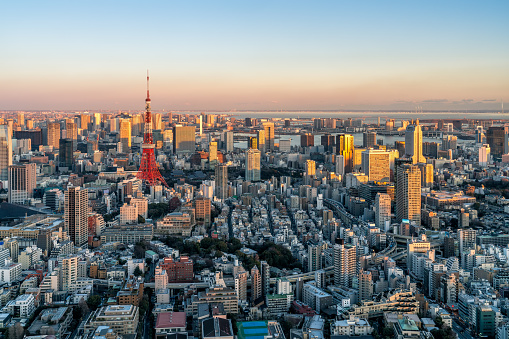 Tokyo Tower「aerial view of Tokyo skyline at sunset」:スマホ壁紙(1)