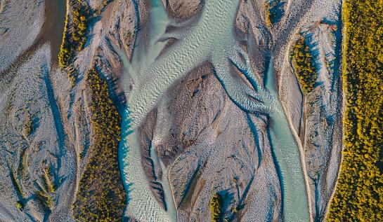 River「Aerial view Waimakariri River, South Island, New Zealand.」:スマホ壁紙(6)