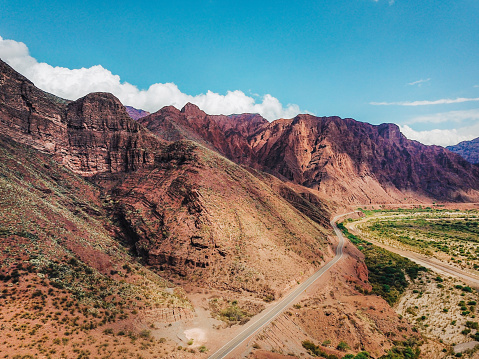 Argentina「Aerial view on the red rocky mountains of Argentina」:スマホ壁紙(15)