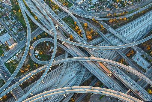 Roadblock「Aerial view of highway interchange in cityscape」:スマホ壁紙(11)