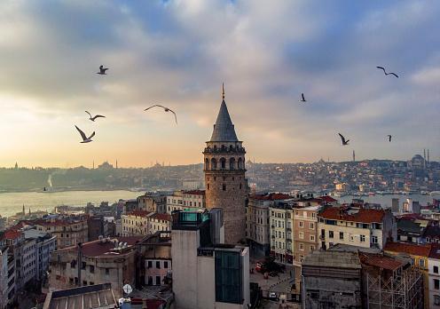 Turkey - Middle East「Aerial view of Galata Tower in Istanbul, Turkey」:スマホ壁紙(12)