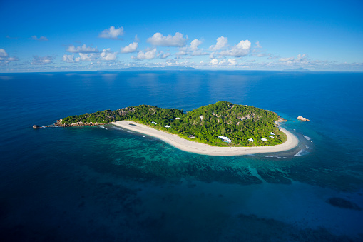 Island「Aerial view of Cousine island.Seychelles」:スマホ壁紙(2)