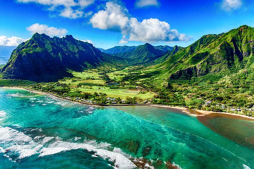 Rainforest「Aerial View of Kualoa area of Oahu Hawaii」:スマホ壁紙(3)