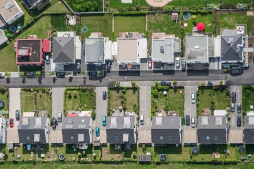 North Rhine Westphalia「Aerial view of housing development」:スマホ壁紙(18)