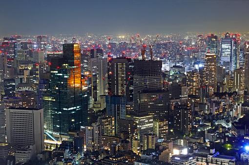 Tokyo - Japan「Aerial view of Tokyo illuminated at night with Tokyo Tower」:スマホ壁紙(13)