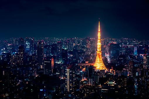 Tokyo Tower「Aerial View of Downtown Tokyo at Nightv」:スマホ壁紙(0)