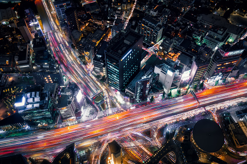 Light Trail「Aerial View of Downtown Tokyo at Night」:スマホ壁紙(9)